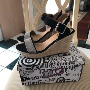 Brash Black and Bling Wedge Shoes NWT Sz 7.5